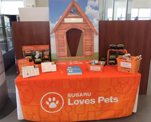 Subaru Loves Pets display